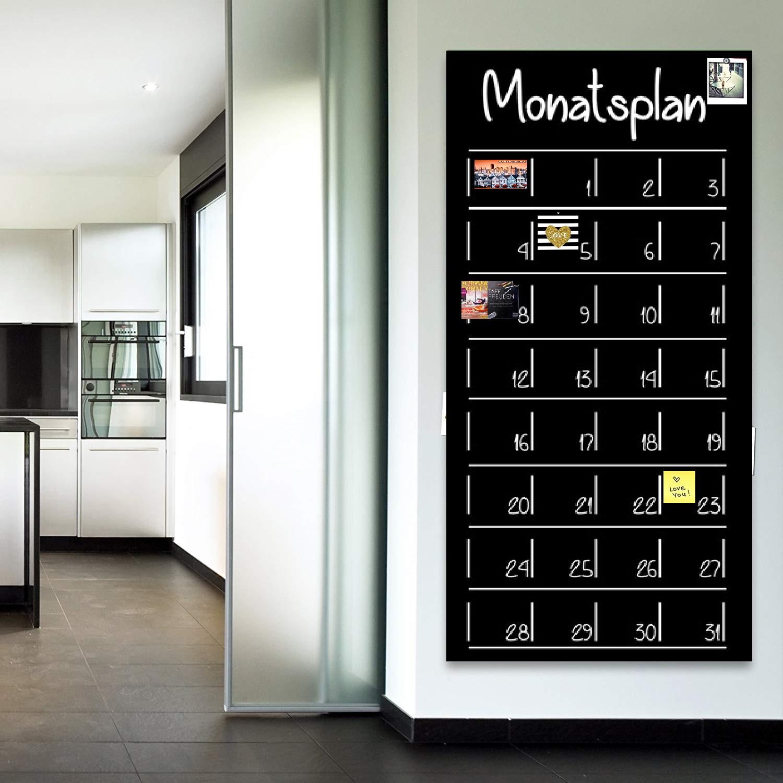 120 x 53 cm | MONATSPLANER | selbstklebend & magnetisch  | Kreide & Kreidestift | schwarz