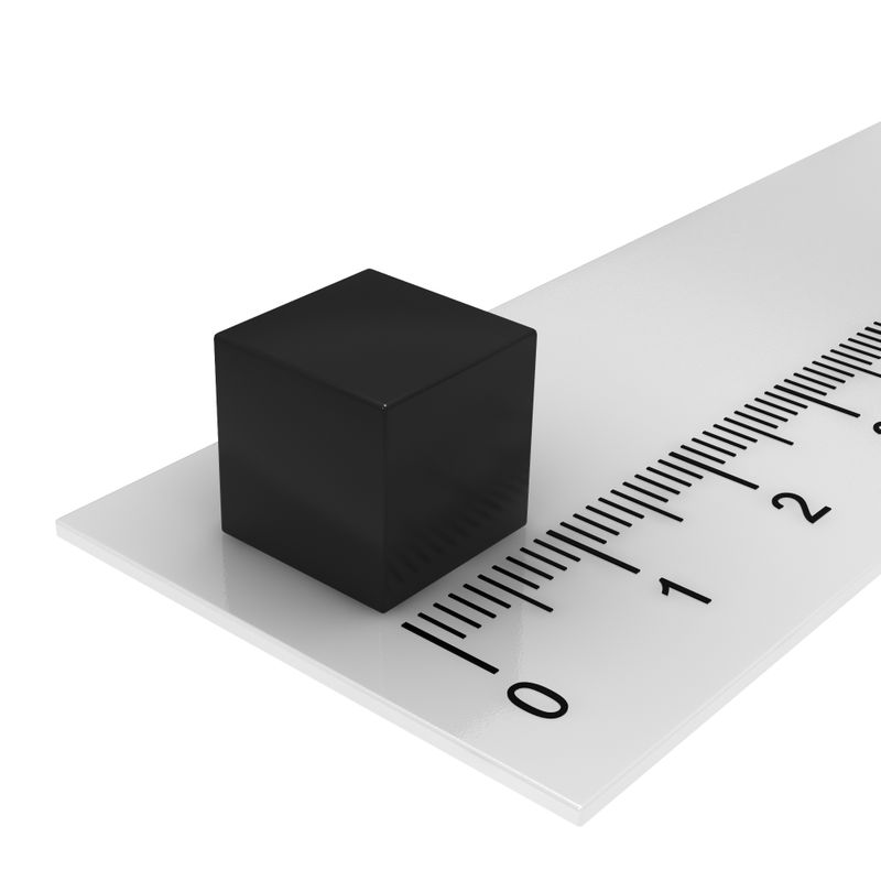 10er Pack Hochleistungs-Würfelmagnete-schwarz 10x10x10mm