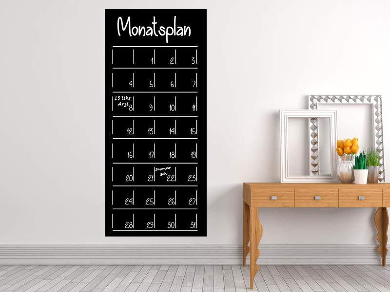 40 x 90 cm | Monatsplan Tafelfolie  | Kreide & Kreidestift | schwarz | selbstklebend