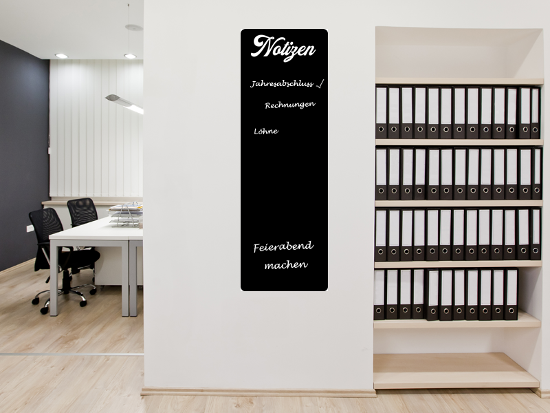 90 x 30 cm | Büroplaner Tafelfolie  | Kreide & Kreidestift | schwarz | selbstklebend